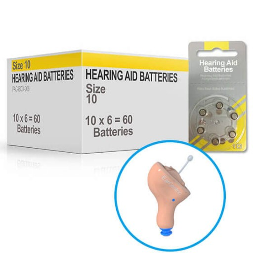 Hearing Aid Batteries for MINI800® Hearing Aid - Size 10 (60 pcs)