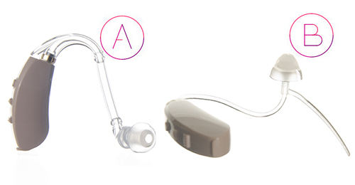 Hearing aid with thin tubing and traditional tubing